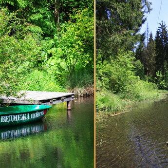 Катання на човні на озері в Карпатах, Славське (Україна)
