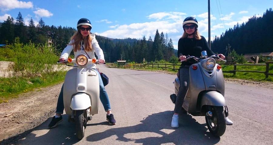 Подорожі і поїздки на скутерах по Карпатах (Сколівщина: Славське-Волосянка), прокат скутерів