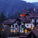 Autumn evening in the hotel in the Carpathians Vezha Vedmezha