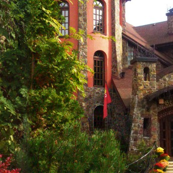 Autumn: a quiet peaceful holiday in a hotel in the Carpathians in Ukraine - Transcarpathia