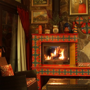 Most warm and cozy place in Ukraine - by the fireplace in the restaurant of The Vezha Vedmezha hotel
