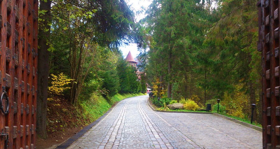 The road to the hotel in the fall, late September