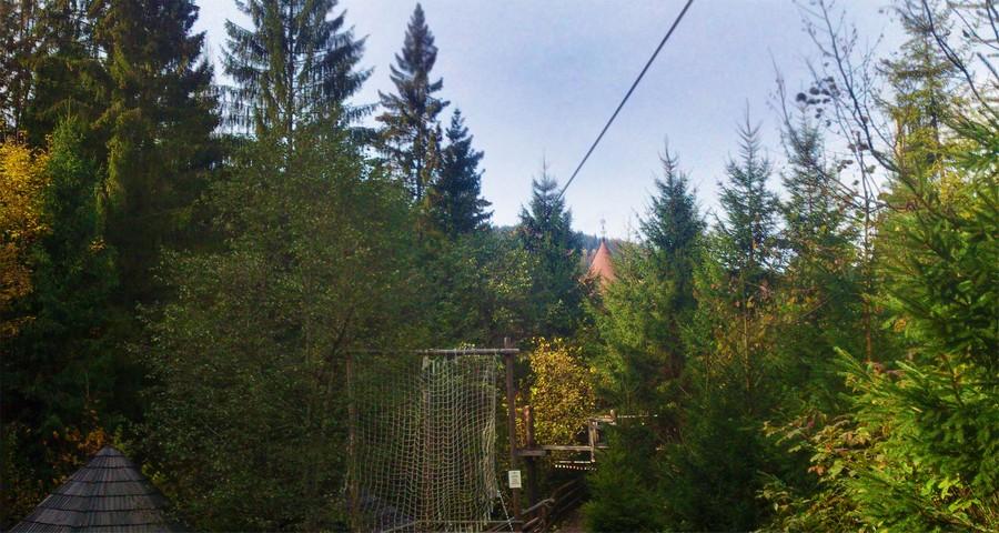 Rope park Vedmezha Lazanka in autumn in October
