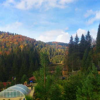 Hotel with swimming pool for an autumn vacation in Ukraine (Carpathians - Transcarpathian)