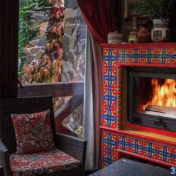 Peaceful fall recreation in a cozy hotel with a fireplace, Karpaty