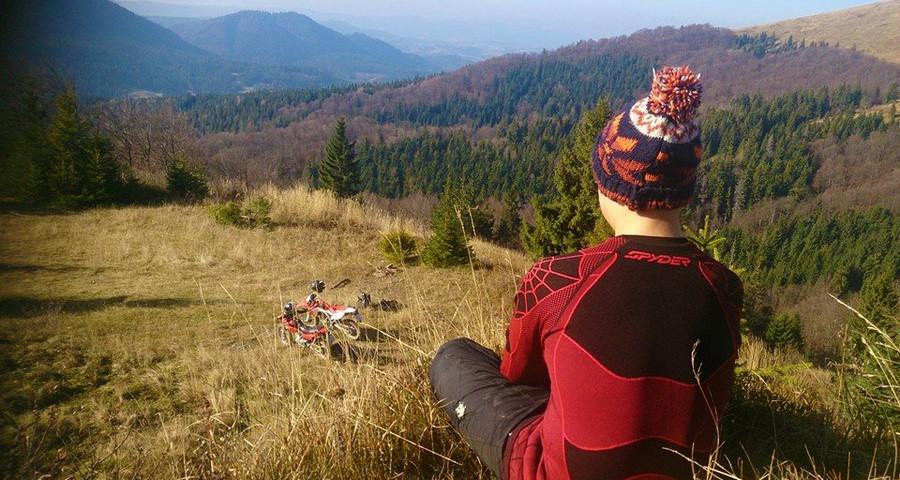 Travelling in the Carpathians in November in serene sunny days