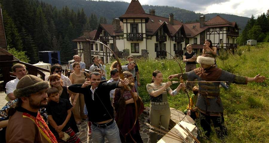 Archery and other medieval entertainment, vibrant corporate holiday