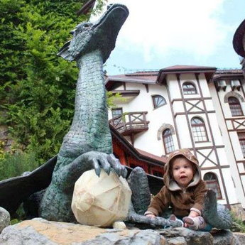 Children rest in a fantastic hotel-castle