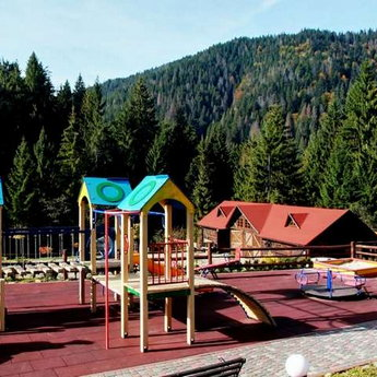 Playground in the Carpathians for recreation for children outdoors