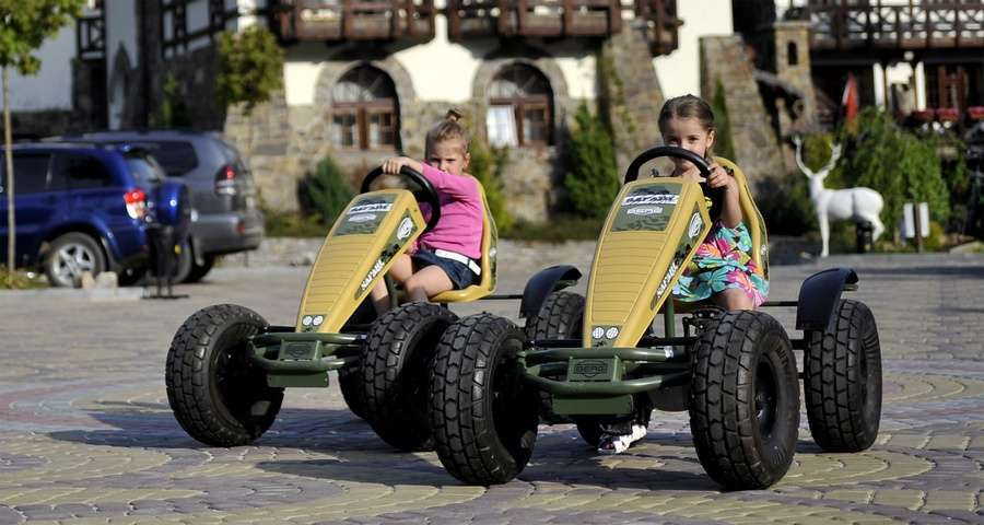 Children rest in Carpathians, kid cars