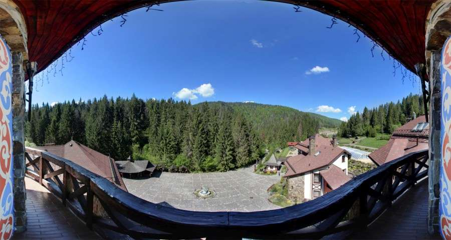 View of the Carpathian Mountains from the balcony of the panorama hall, Vezha Vedmezha