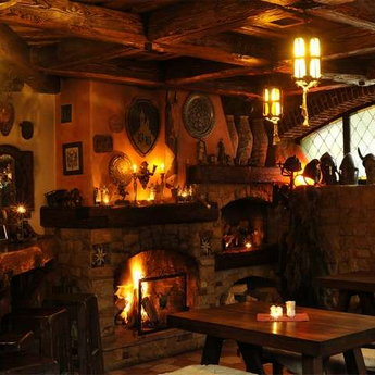Barloga bar with a fireplace in the Carpathians, Vezha Vedmezha
