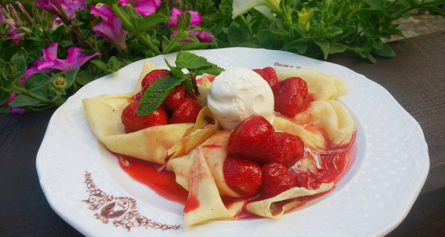 Pancakes with berries. The summer season in the