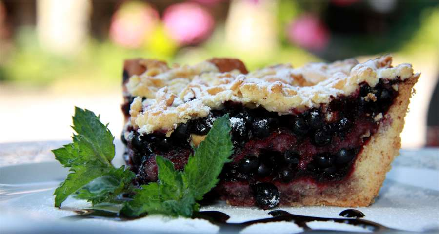 Blueberry cake in the Trapezna Restaurant, Carpathians