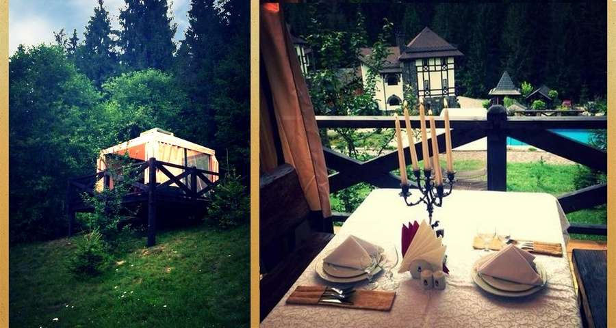 Romantic dinner on the open air terrace Vezha Vedmezha, Carpathians