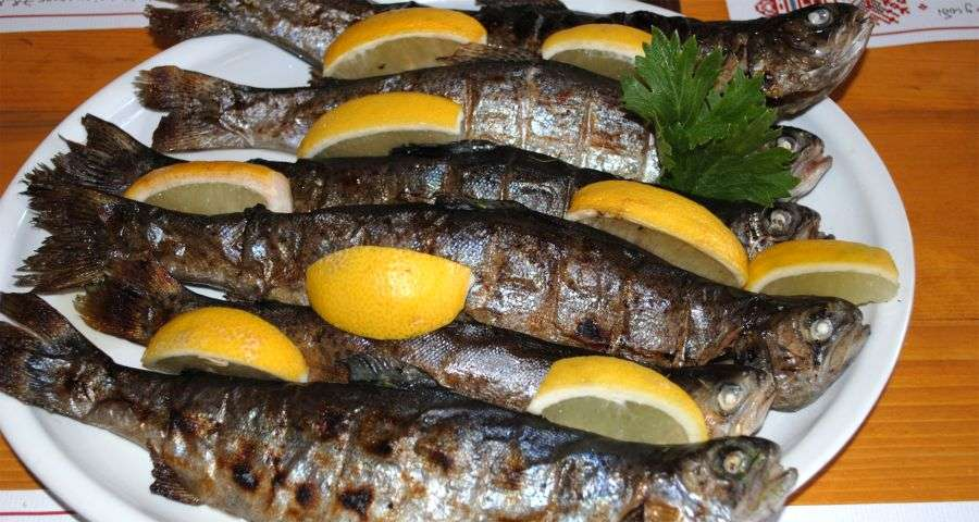 Smoked Fish in the Trapezna Restaurant, Carpathians