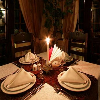 Romantic candlelight dinner in the Trapezna Restaurant, Carpathians
