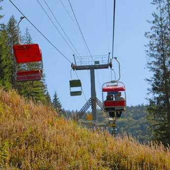 Chairlift in the Carpathian Mountains in autumn