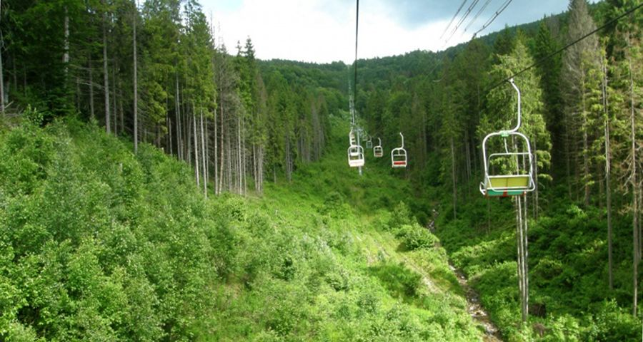 Chair lift on Mount Vysolij Verh, Carpathians, Volosyanka - Slavs'ke