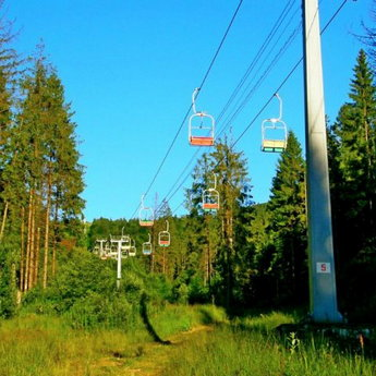 Chair lift in the Carpathians, Slavs'ke - Volosyanka