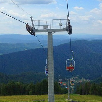 Traveling in the Carpathians on the cable car