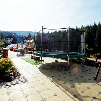 Trampoline and children's play area in the Carpathians, Vezha Vedmezha