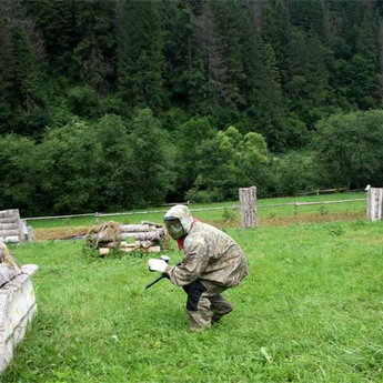 Playing paintball in the Carpathians