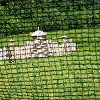 Paintball field in summer, Lviv region, Carpathians