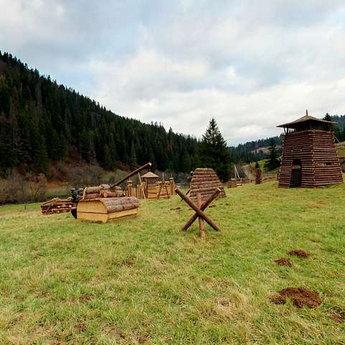 Paintball area in the Carpathians, autumn, after rain