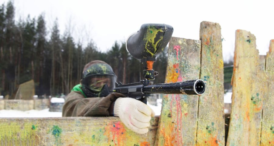 Paintball in the Carpathian Mountains in winter