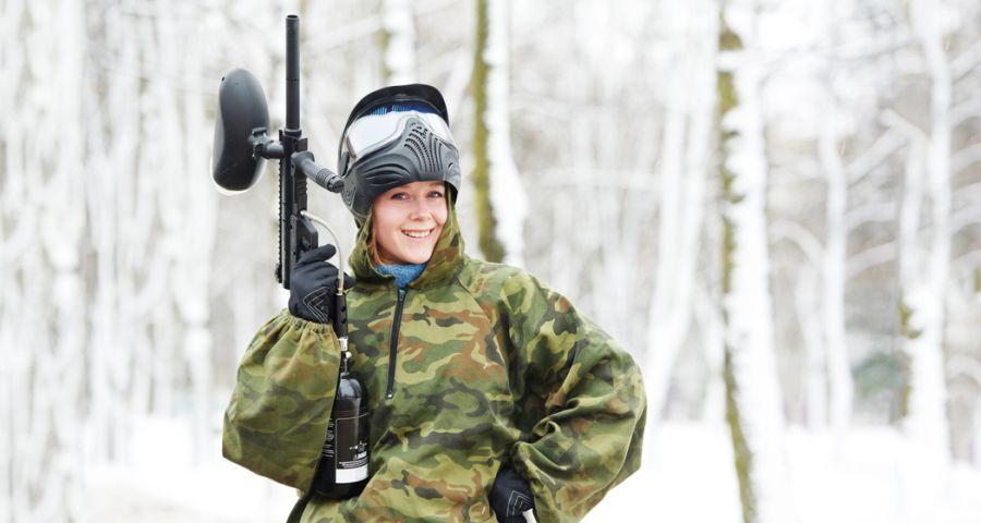 Paintball site in Ukraine, winter games