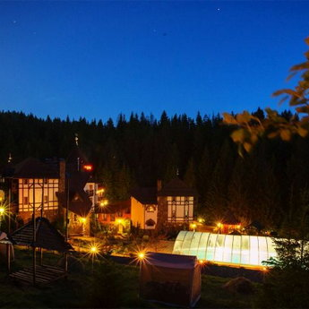Swimming pool Carpathians in the summer night