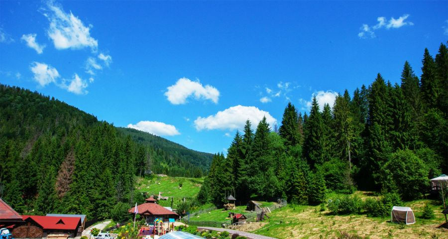Wedding in the Carpathians - the view from the balcony at Vezha Vedmezha