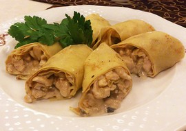 Chicken and Mushroom Pancakes