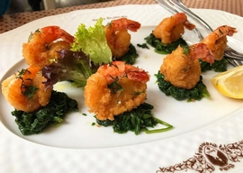 Tiger prawns with spinach
