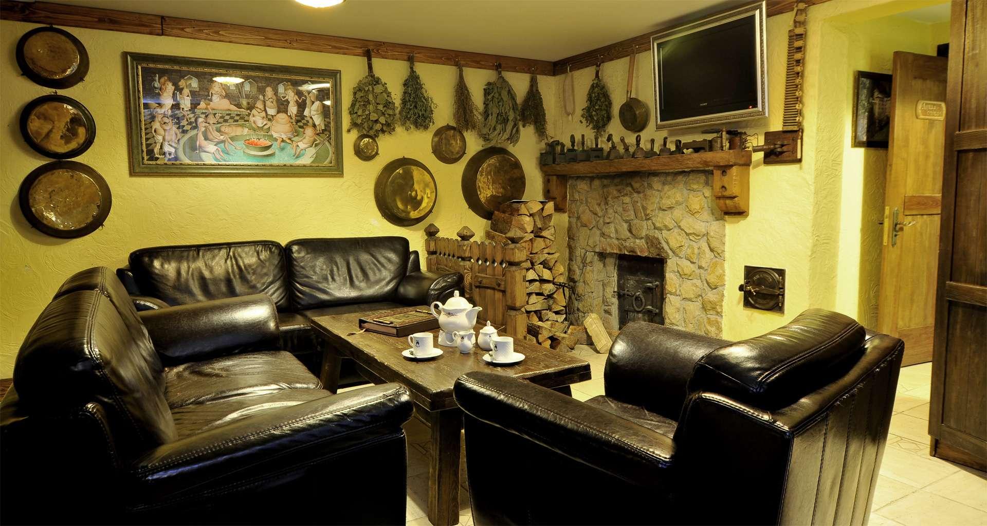 Rest room in Russian bath in the Carpathians
