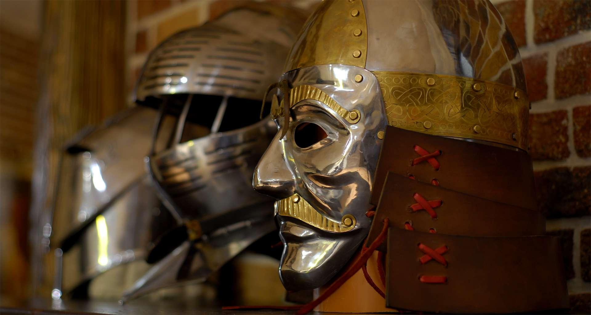 Medieval knight in the armor Vezha Vedmezha