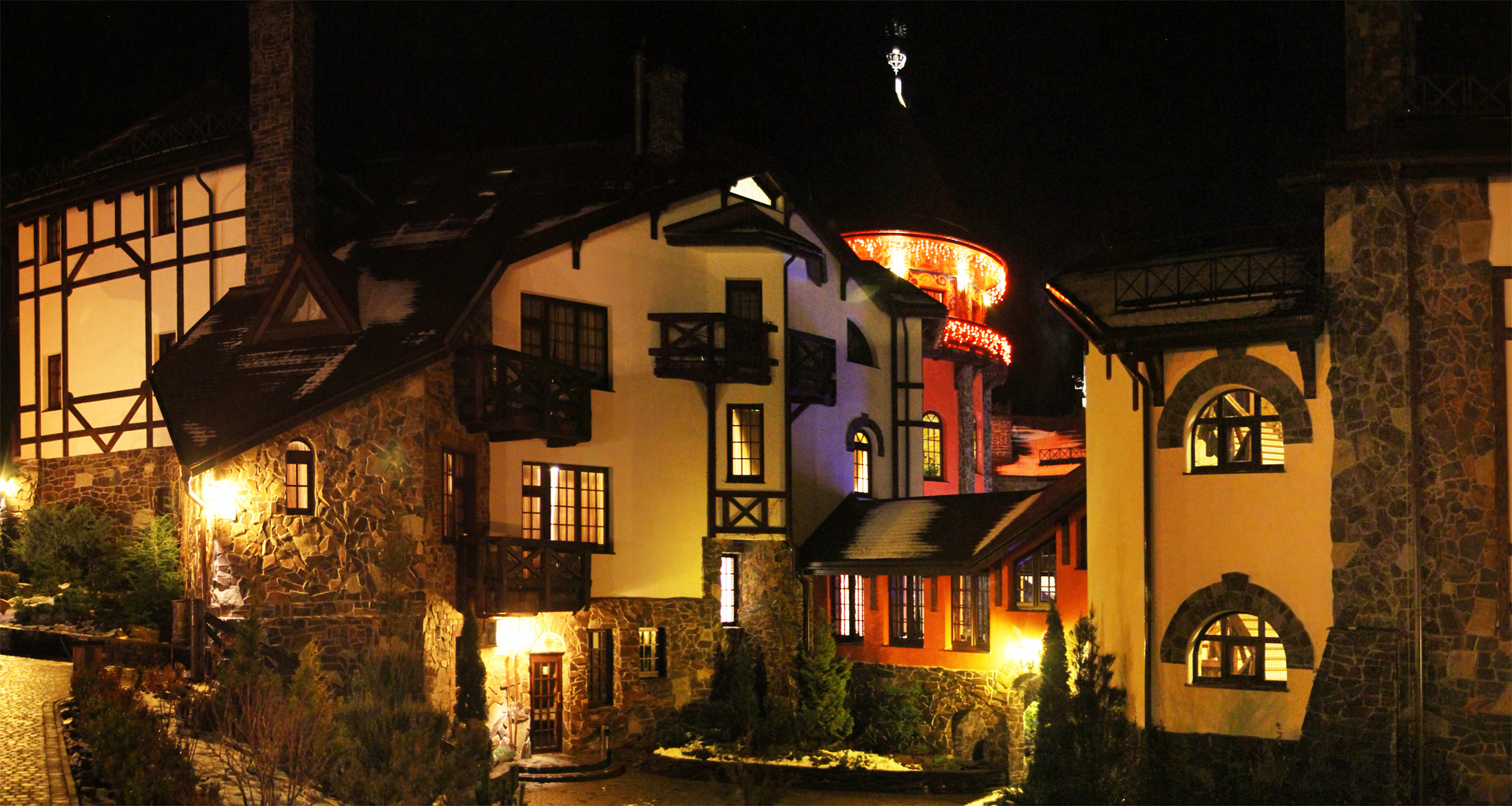 Evening lights in the Carpathians Trapezna Restaurant